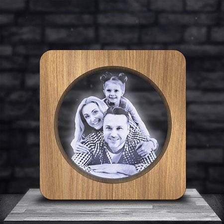 Illuminated Wood Look Photo Frame