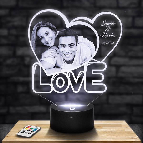 Customised 2 Love Heart Lamp