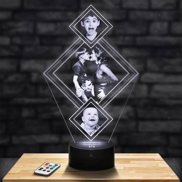 Customised 3 Diamond Lamp