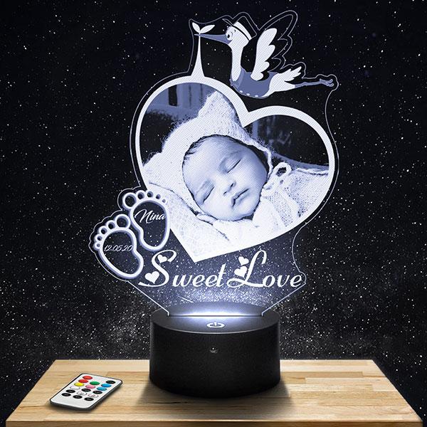 Customised kid's Night Light Heart & Stork