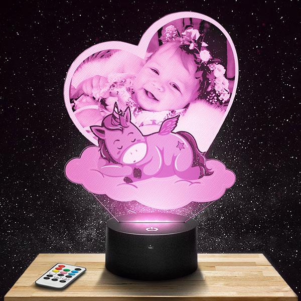 Customised kid's Night Light Heart & Unicorn