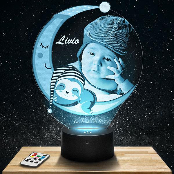 Customised kid's Night Light Moon & Sloth