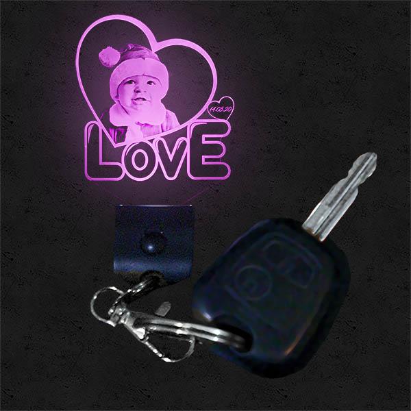Customised Illuminated Love Heart Keyring