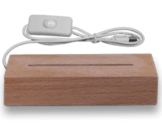 Solid wood base rectangular with white light (18€)