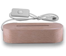 Solid wood base oval with white light (18€)